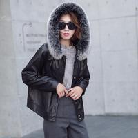Spring Autumn Fox Fur Collar Sheepskin Coat Real Genuine Leather Jacket Women Clothes 2019 Korean 90 White Duck Down Coat ZT2308