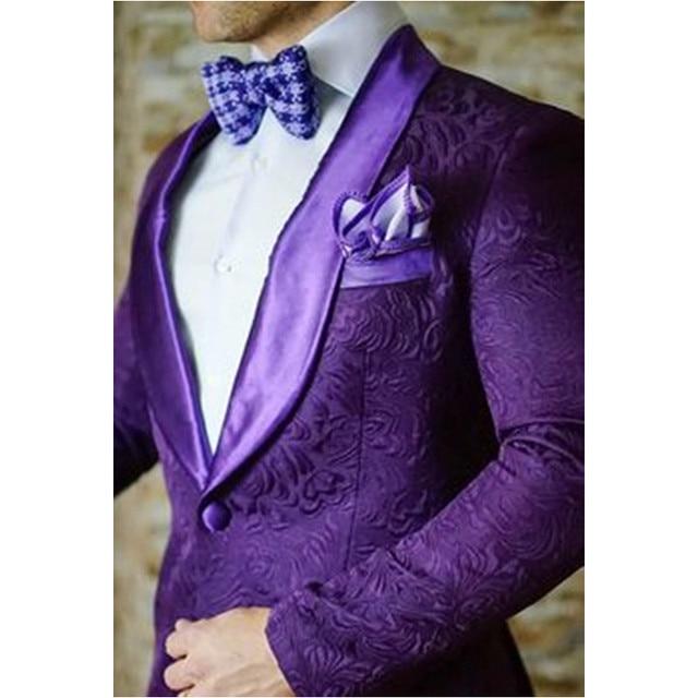 Latest Design Groomsmen Groom Tuxedos Purple Printing Coat (Jacket+ ...