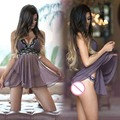 Hot Women Purple Sexy G-string Underwear + Sleep Dress Lingerie Nightgown Sleepwear Ladies Pajamas Set 21