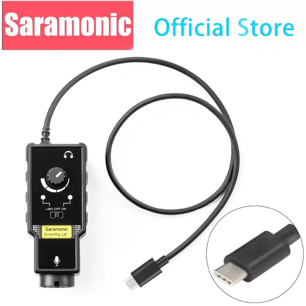 Adaptateur de Microphone Saramonic XLR préam plate-forme Audio et Interface guitare et entrée USB type-c pour Smartphones Android Huawei Samsung