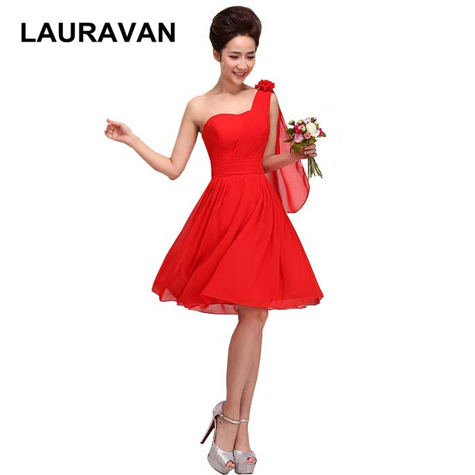 vestidos de festa elegant women red one shoulder short   bridesmaid     dress   chiffon   dresses   new arrival 2018 free shipping