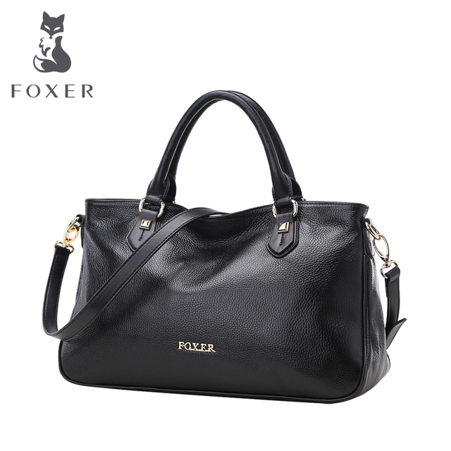 b5341a83e4 Foxer Brand Women s Genuine Leather New Style Shoulder Bag Female Tote Bags  Women Handbags