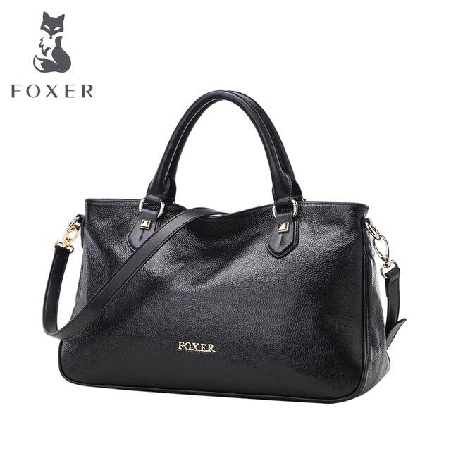 Foxer marca cuero genuino de las mujeres del nuevo estilo del bolso de hombro femenino bolsas de mano bolsos de las mujeres