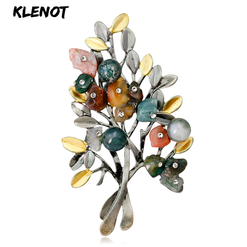Brooches Crystal-Stone Natural Party-Jewelry Women Plant for Banquet Gifts Leaf-Tree-Pins