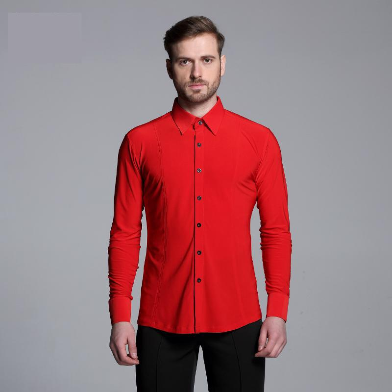 Men Solid Colour Shirts Long Sleeved Adult Latin Dance Top Competition Performance Ballroom Modern Salsa Tango Samba latin mens