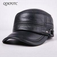 QDKPOTC 2018 New Men Earmuffs Genuine Leather Baseball Caps Middle aged Warmer Winter Male Flat Hats Real Cowhide Cap