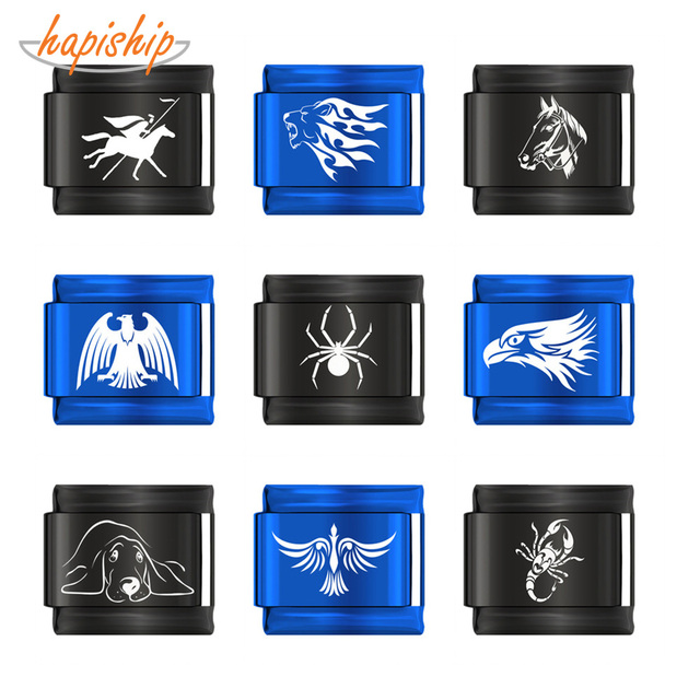 Hapiship 2019 Original Daisy Spider Horse Dog Scorpion Leo Eagle Charm Fit 9mm Bracelet Stainless Steel Jewelry Making DJ151-B