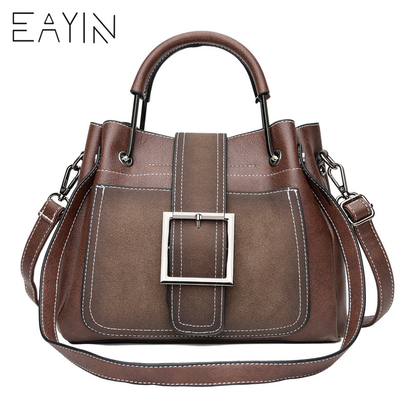 EAYIN Genuine Leather Women Messenger Bags Vintage Belts Shoulder Bag Women Handbags Designer high quality Ladies Hand Bags Sac luxury handbags women bags designer messenger chain bag genuine leather cover vintage flap patchwork ladies high quality purses