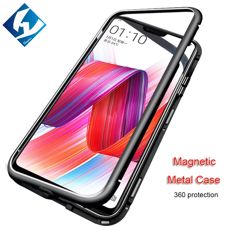 buy online 215d4 7a671 US $7.29 27% OFF|magnetic adsorption Phone case for OnePlus 6 360 Metal  Magnet Back Glass Cover case Metal bumper 1+6 one plus 6-in Half-wrapped  Case ...