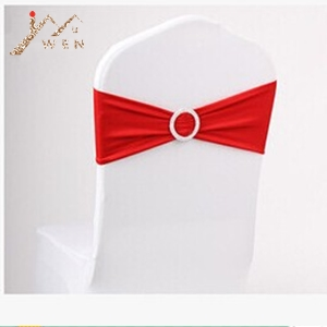 100pcs Red Elastic Lycra Chair Sash Wedding Spandex Stretch Chair Band With Plastic Round Buckle