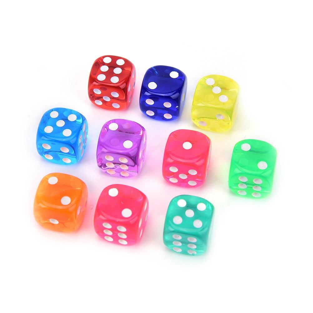 10 Pcs 14mm Dice Transparent Solid Glitter Effect In 12mm Square Corners Plastic Cube D6 Gambling Dice
