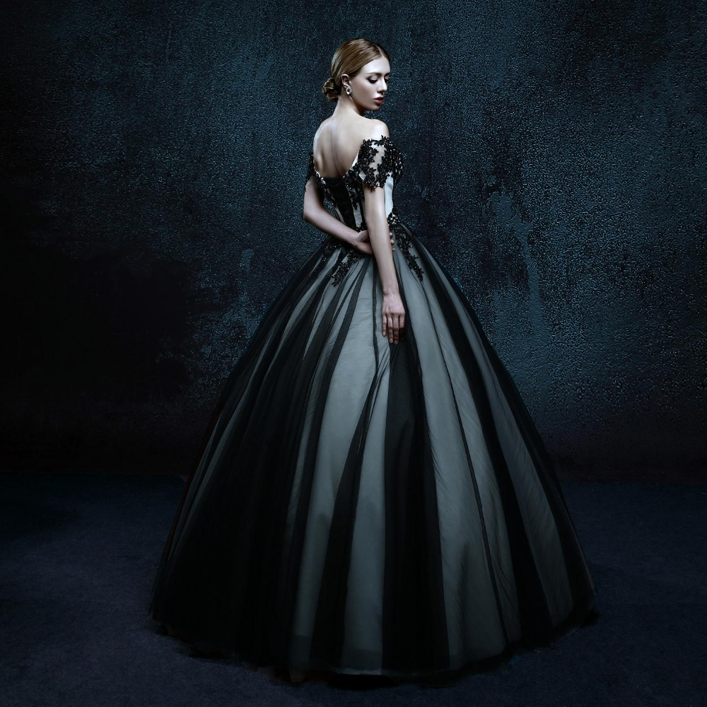 2016 Women Black Gothic Wedding Dresses Bride Floor Length