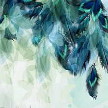 3D Nordic Minimalism Blue Feather  Abstract Art
