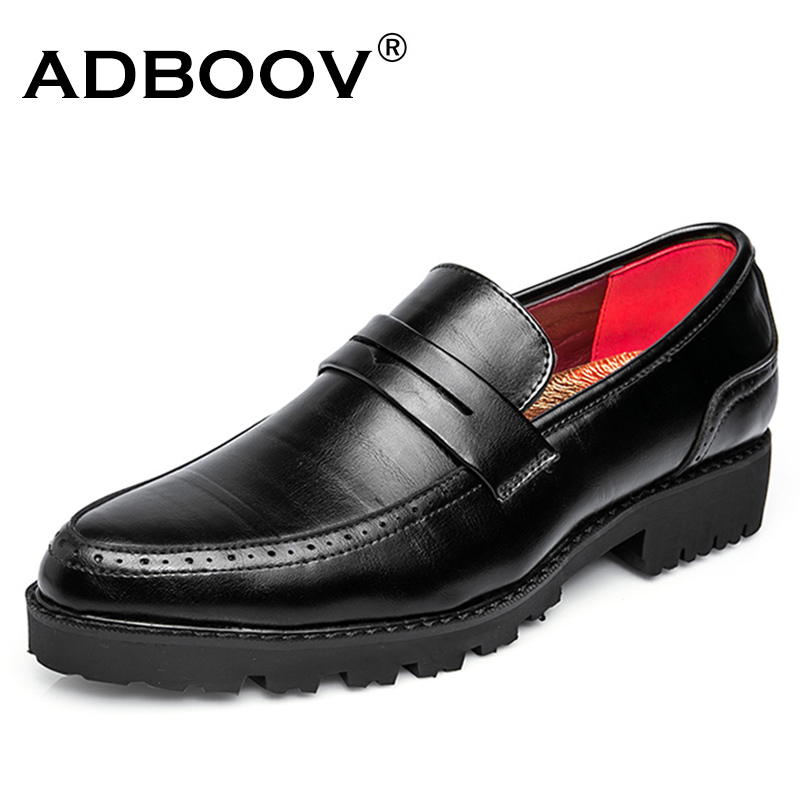 ADBOOV Rubber Sole Men Penny Loafers Solf Leather Casual Shoes Tenis Masculino Adulto Black/Red/Brown branded men s penny loafes casual men s full grain leather emboss crocodile boat shoes slip on breathable moccasin driving shoes