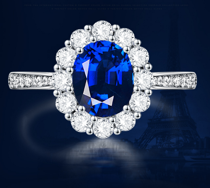 1 carat 925 sterling silver tanzanite ring synthetic diamond female wedding engagement flower ring US size from 4.5 to 9 (LA)