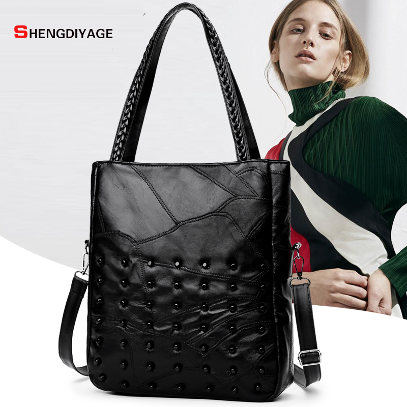 buy shengdiyage 2017 high quality sheepskin women handbag fashion rivets design. Black Bedroom Furniture Sets. Home Design Ideas