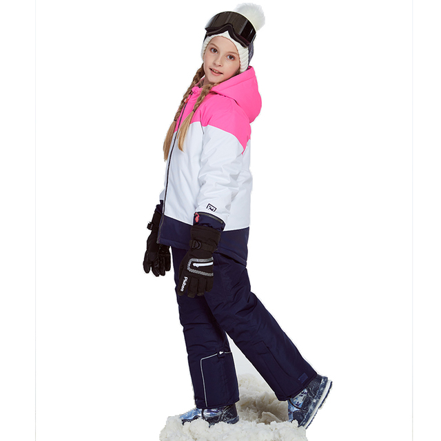 Detector Girl Ski Jacket and Pant Winter Warm Skiing Suit Windproof Outdoor Children Clothing Set Kids Snow Sets For Boys Girls