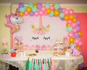 Image 5 - Laeacco unicórnio backdrops para festa de aniversário céu rosa flores estrelas arco íris chá de fraldas fotografia fundos para estúdio de fotos