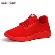 ALL YIXIE 2019 New Fashion Womens Casual Shoes Women Summer Breathable Mesh Flat Sports Red  Female