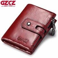 GZCZ Genuine Leather Women Wallet Female Double Zipper Card Holder Coin Purse Mini Walet Casual Retro