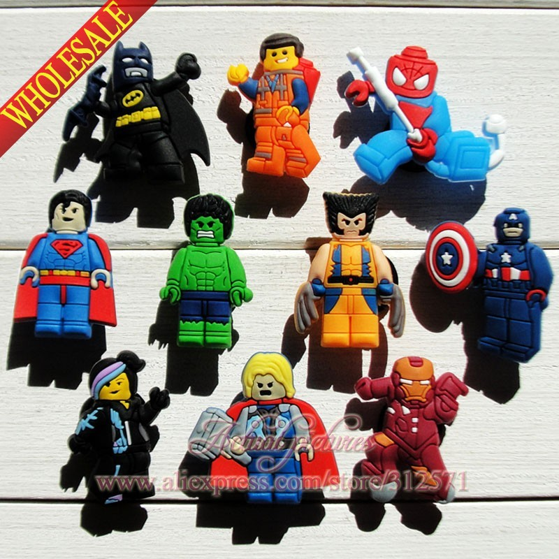 10pcs/set Avengers Hulk Batman PVC Shoe Charms Shoe Accessories Decoration Fit Bands Bracelets Croc JIBZ Shoe Buckles Ornaments