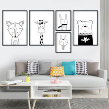 Black White Giraffe Fox Rabbit Bear Wall Art Canvas Painting Cartoon Nordic Posters And Prints Pictures For Kids Room Boy