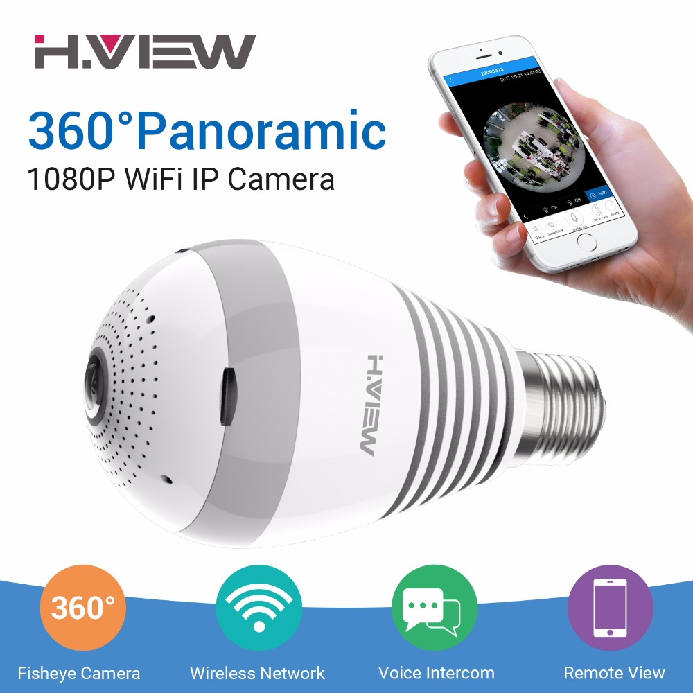 H.VIEW LED Bulb 360 CCTV Camera 1080P IP Camera Wifi Panoramic Cameras 960P Camara IP Fisheye Video Surveillance Cameras wifi ip bulb camera 360 fisheye panoramic bulb camera 1 3mp 960p cctv video surveillance wifi security camera