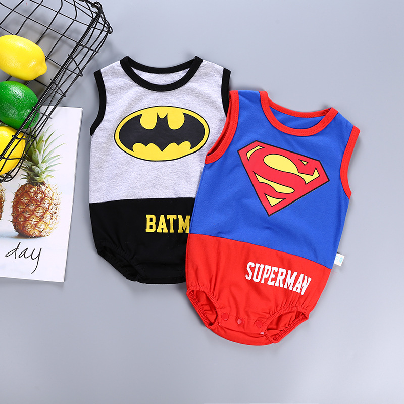 Free Shipping Summer Infant Boy Super Hero   Romper   Children Blue Superman Costume Outfit Cool Cotton Sleeveless Jumpsuit Body Kit