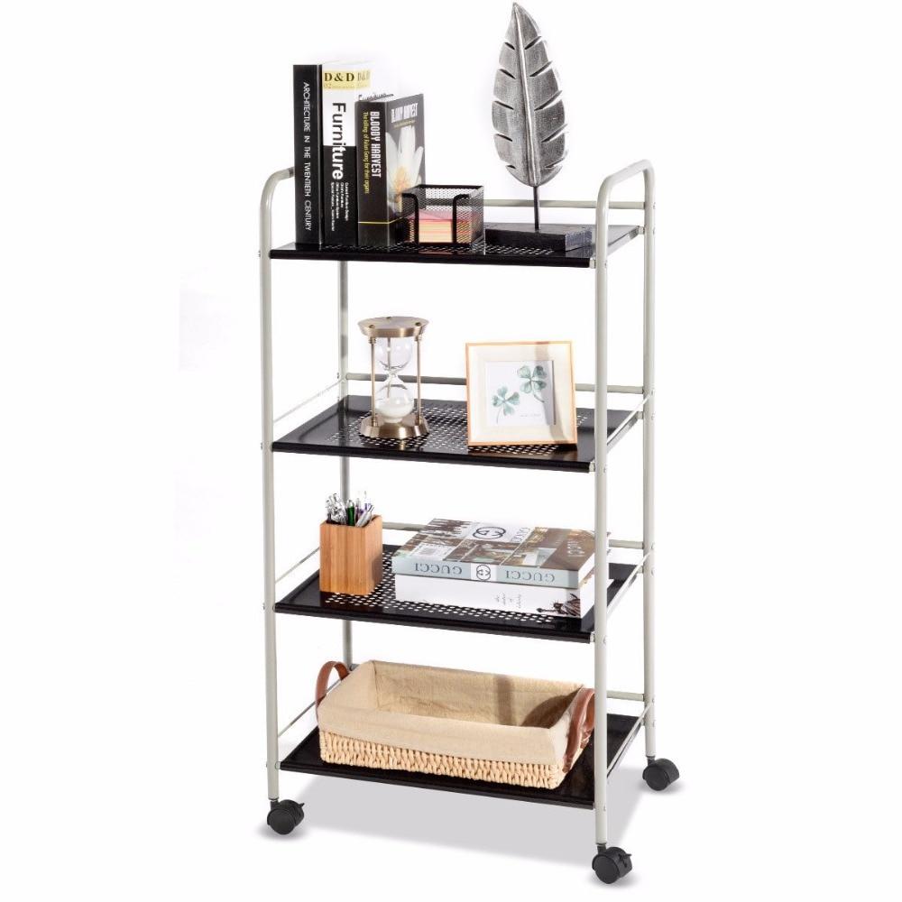 Goplus 4 уровня Rolling корзину для хранения Дисплей стойки сетки шельфа утилита Организатор колеса современная мебель HW56829