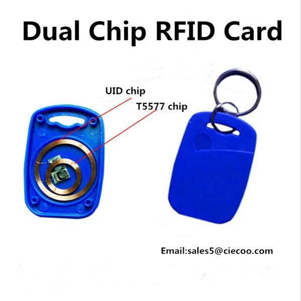 5 pcs/lot free shipping Frequency RFID Writable Keyfobs ID125Khz  IC13.56mhz Proximity Smart Card for Access Control wholesale 100pcs ic re writable keys 13 56mhz proximity ic card imitation jade ic smart car keys