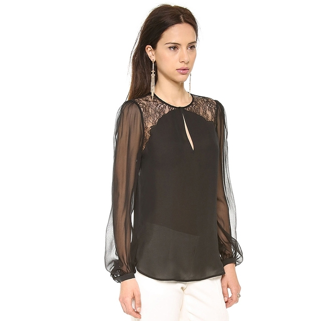 Women Gothic Style Shirt Long Sleeve O-Neck Lace Blouse Curve Bottom Loose Casual Shirt For Wholesale