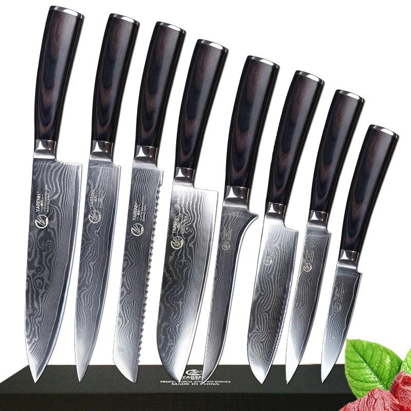 8 pz damasco coltelli set professionale chef set di coltelli con Pakka manico in legno in acciaio inox migliore coltelli da cucina