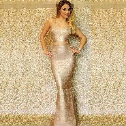 Top Quality HL 2 Pieces Set Gold Foiling Rayon Trumpet Bandage Dress Cocktail Party Noble Dress