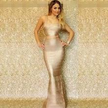 Top Qualität HL 2 Stücke Set Gold Folierung Rayon Trompete Bandage Kleid Cocktail Party Edle Kleid