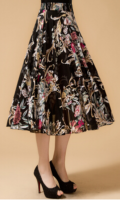 Новинка лета среднего возраста и пожилых Женская мода свободные большой код печати хлопок с эластичной талией юбки хорошее качество ae120 - Цвет: 4