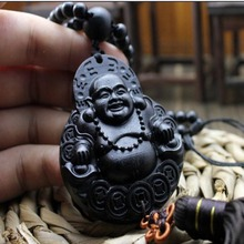 Laughing Happy Buddha Statue Wood Carving Car Pendant Ornament Accessories Amulet