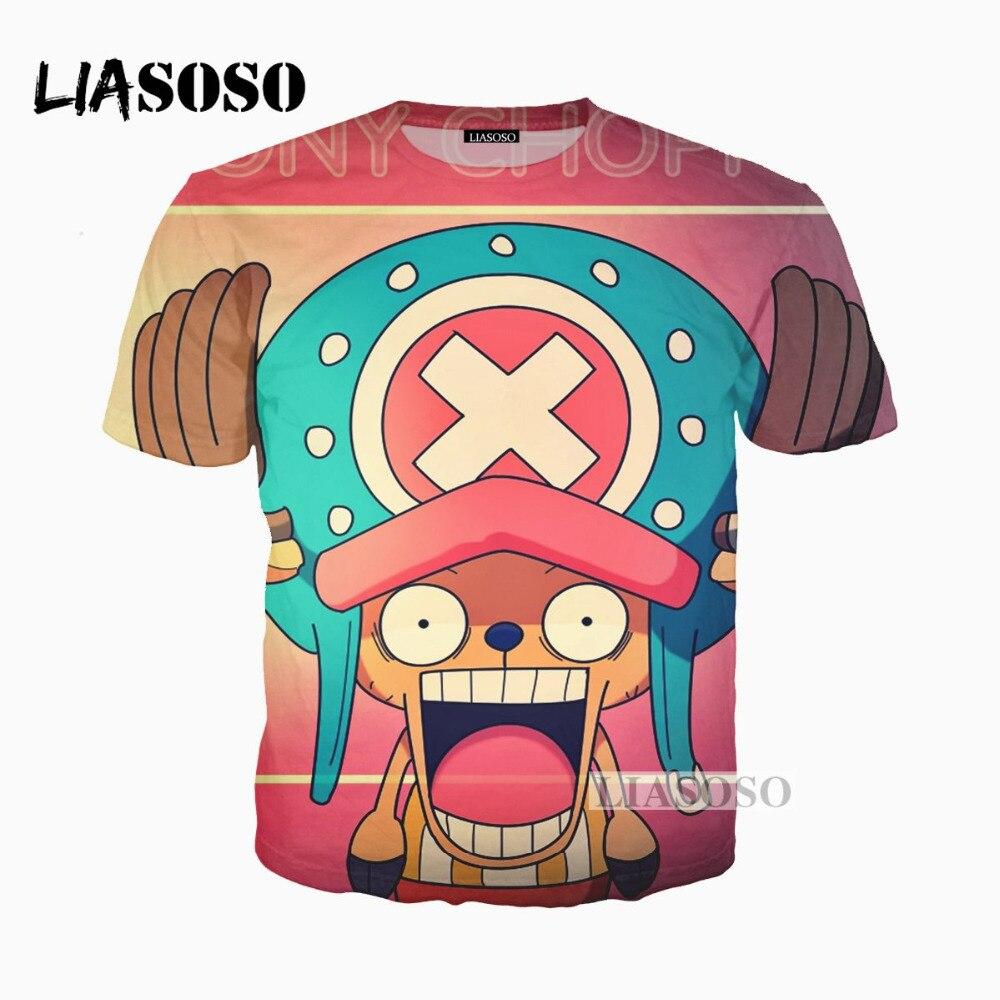 LIASOSO 3D Print Women Men Design Anime One Piece Tony Tony Chopper Tshirt Summer T-shirt Hip Hop Pullover Short Sleeve X0192