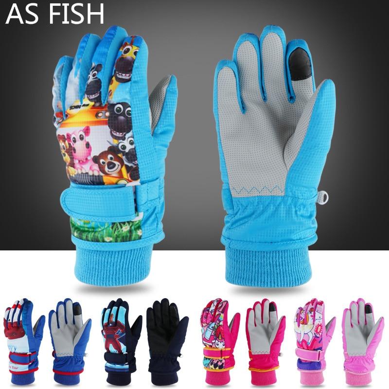 Winter Warm Ski Gloves Kids Snowmobile Mittens Skiing Snowboard Gloves Windproof Glove For Girl Boy Anime Figure Elsa Anna