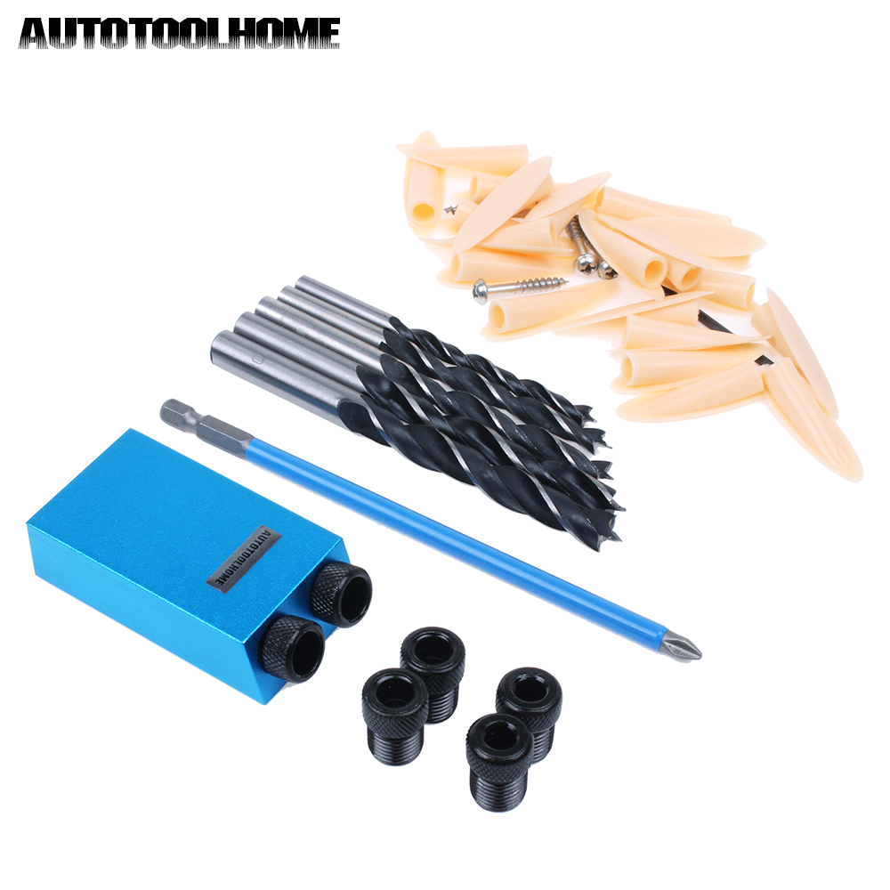 Mini Drill Guide Set for Kreg Pocket-hole Jig Kit Woodworking Wood Dowels Joinery Tools Accessories PH2 Screwdriver Drill Bit woodworking drill guide pocket hole jig 6 8 10mm mini drill bit sleeves for kreg pocket hole doweling joinery diy repair tools