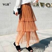 VGH Mesh Women's Straight Skirts Elastic High Waist Black Slim Long Cake Beach Skirt Female Elegant Clothing Fashion 2018 New