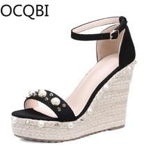 цена на Womens Pearl Deco Wedge Sandals Shoes Elevated Wedge Espadrille Classic Espadrille Wedge Sandals Summer Parties Shoes