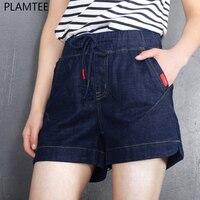 PLAMTEE Streetwear Elastic Waist Drawstring Pocket Women Denim Shorts Vintage Solid Slim Fitness Girl Short Jeans