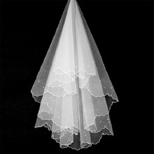 BOAKO 2019 New White Wedding Veil Bridal Tulle Veils with Pearls 150CM Short One Layer Cheap Accessories