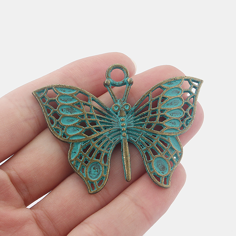 10Pcs Large Butterfly Antique Greek Bronze Charms Pendants for Jewellery Making Findings 62x44mm