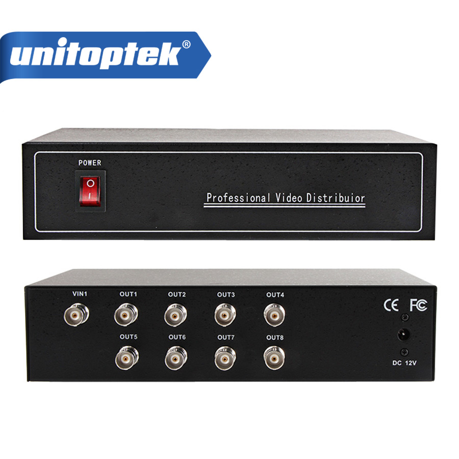 1CH In And 8CH Output Professional Analog HD Video Splitter,Support HDCVI/HDTVI/AHD Camera BNC Output,Max Up To 300-600M