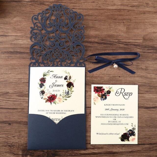 50 個紺新到着水平レーザーカット結婚式の招待状rsvpカード、真珠リボン、カスタマイズ可能な