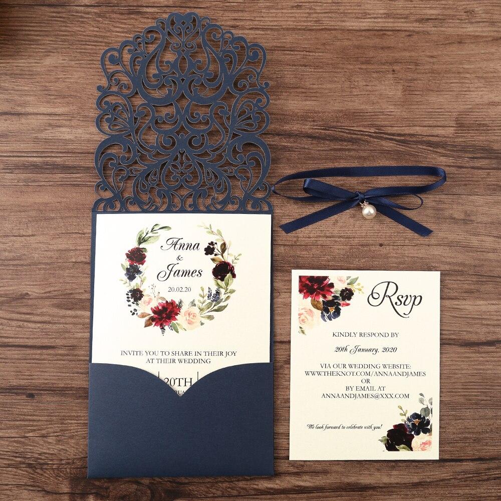 50 stücke Navy blau Neue Ankunft Horizontale Laser Cut Hochzeit Einladungen mit RSVP karte, perle band, Anpassbare-in Karten & Einladungen aus Heim und Garten bei  Gruppe 1