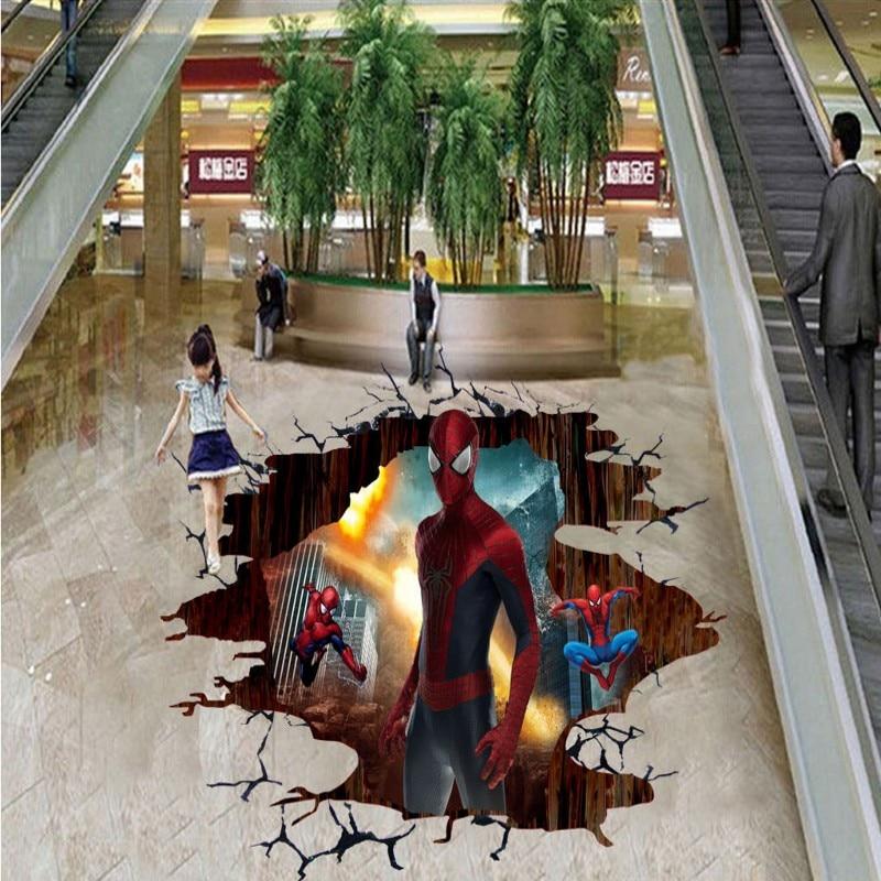 ФОТО Free Shipping 3D Spider Man cartoon floor wallpaper bedroom studio mural self-adhesive floor wallpaper mural