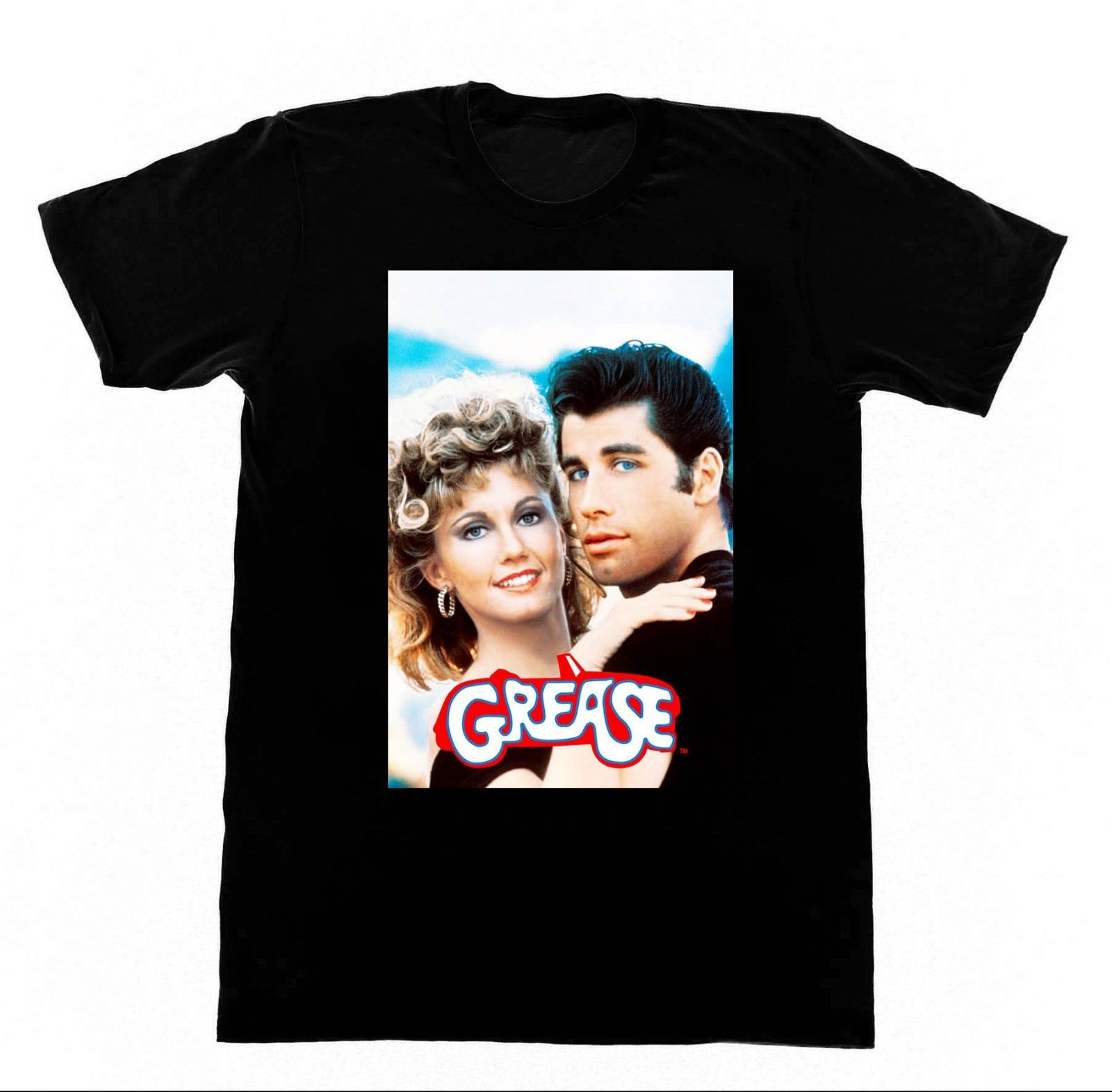 Grease Travolta Oliva Newton John T Shirt Bee Gees Andy Gib Avalon New 2018 Hot Summer Casual T Shirt Printing in T Shirts from Men 39 s Clothing