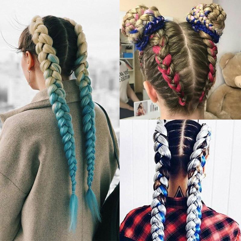 Crochet Braids Kanekalon Synthetic Hair 24 Inch Jumbo Braiding Hair 100g/Pack Blonde Grey Crochet Twists Braids Hair Extensions